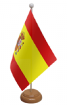 Spain Desk / Table Flag with wooden stand and base